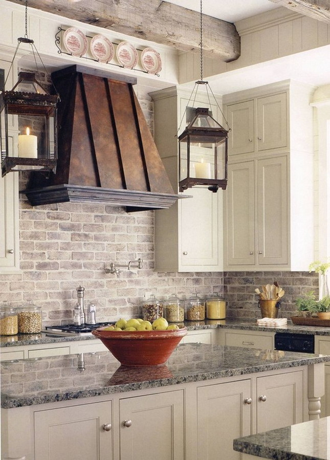 French Country Kitchen Cream Cabinets With Tile Backsplash Decoriate
